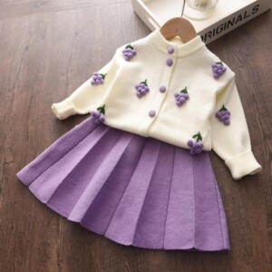 2-piece Fruit Cardigan Sweater & Skirt for Toddler Girl