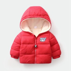Solid Fleece-lined Puffer Jacket for Toddler Boy