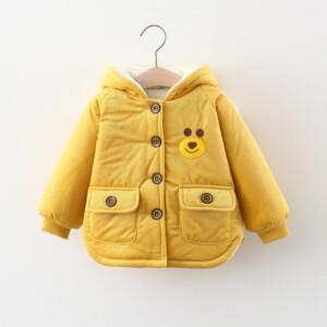 Bear Pattern Puffer Jacket for Toddler Girl