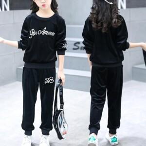 2-piece Letter Pattern Sweatshirts & Pants for Girl