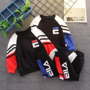 2-piece Color-block Sweatshirts & Pants for Toddler Boy