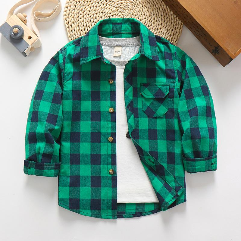Plaid Long Sleeve Shirt for Boy