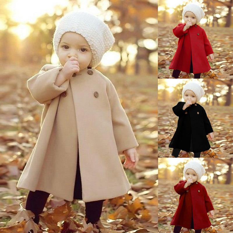 Solid Pattern Duffle Coat for Toddler Girl