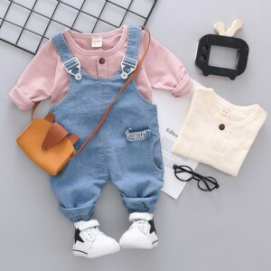 2-piece Solid Sweatshirt & Dungarees for Toddler Girl