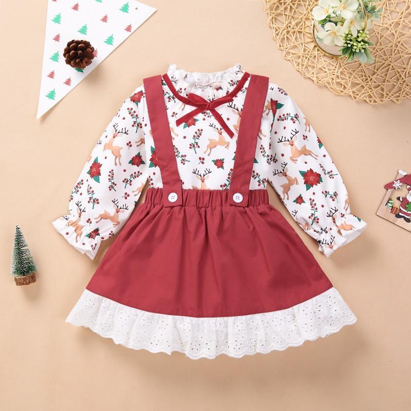2-piece Christmas Deer Pattern Shirt & strap dress for Toddler Girl
