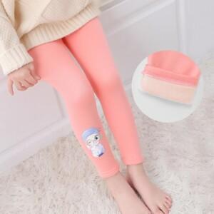 Fleece-lined Cartoon Pattern Boot Pants for Toddler Girl