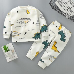 2-piece Fleece-lined Dinosaur Pattern Pajamas Sets for Toddler Boy