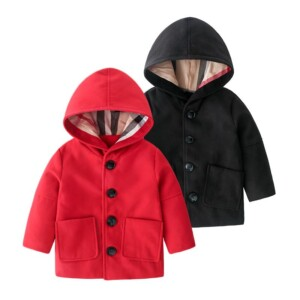Plaid Lining Duffle Coat for Toddler Boy