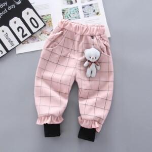 Bear Pattern Fleece-lined sports pants for Toddler Girl