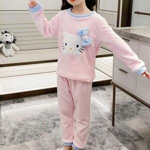 2-piece Cartoon Design Fleece-lined Pajamas Sets for Girl