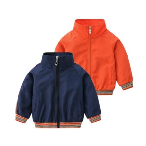 Sporty Stripe Pattern Jacket for Toddler Boy
