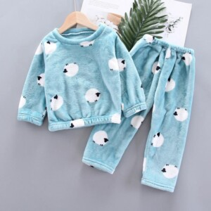 2-piece Cotton Pattern Fleece-lined Pajamas Sets for Toddler Girl