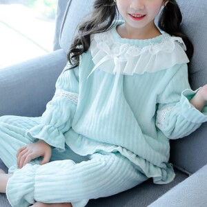2-piece Solid Ruffle Pajamas Sets for Girl