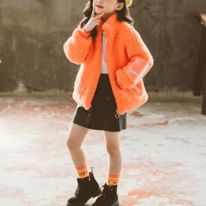Solid Fleece-lined Coat for Girl