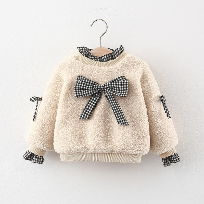 Plaid Color-block Pattern Plush Hoodie for Toddler Girl