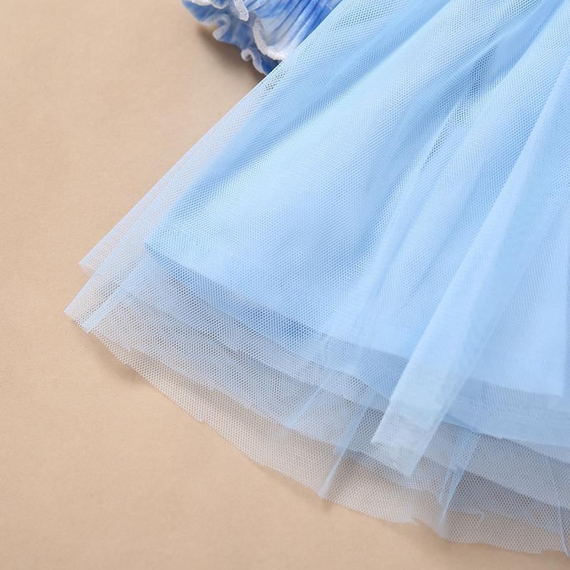 Tie dye Mesh stitching Dress for Toddler Girl
