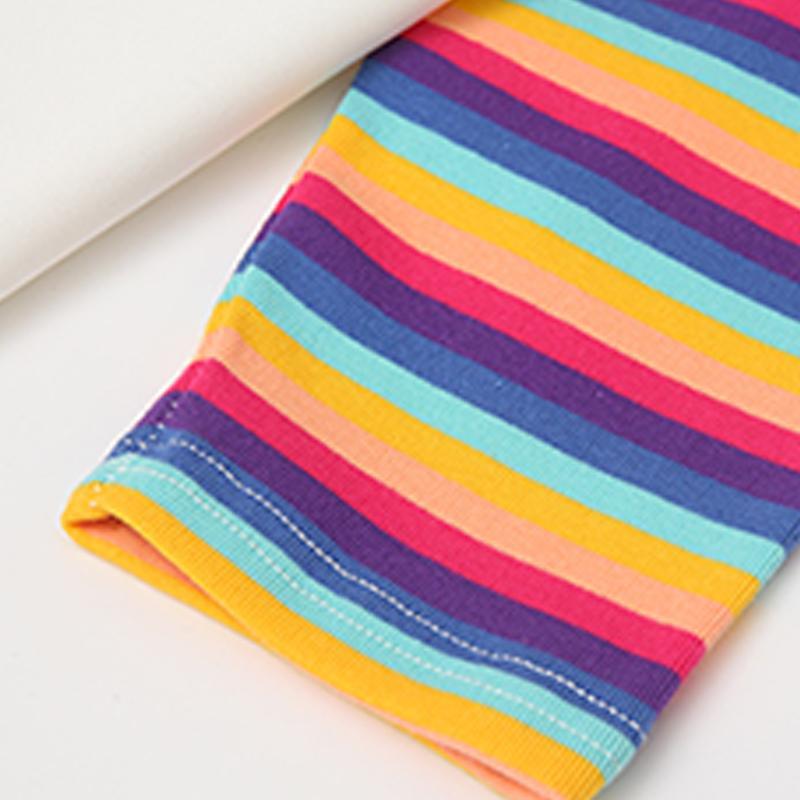 2-piece Stripes Pattern T-shirt & Letter Pattern Pants for Girl