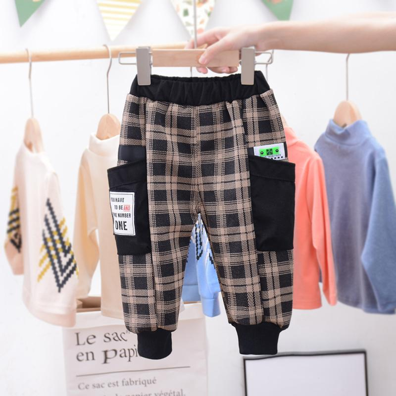 lattice Pattern Fleece-lined sports pants for Toddler Boy