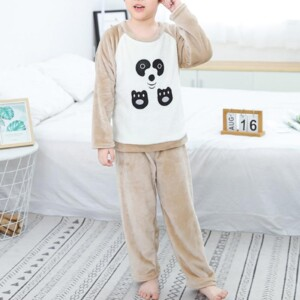 2-piece Cartoon Design Flannel Thick Pajamas Sets for Toddler Boy