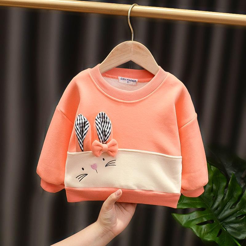 Rabbit Pattern Fleece-lined Sweatshirts for Toddler Girl