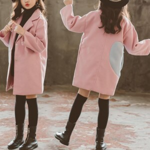 Heart-shaped Pattern Duffle Coat for Girl