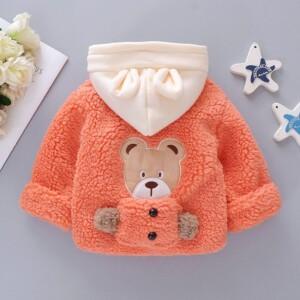 Bear Pattern Plush Coat for Toddler Girl