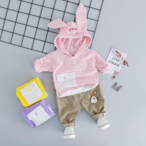 2-piece Bunny ear hat Hoodie & Pants for Toddler Girl