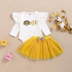 2-piece Jumpsuit & Mesh Skirt for Baby Girl