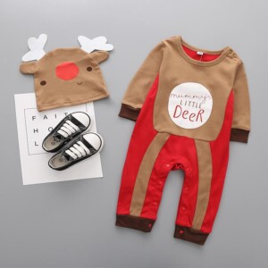 2-piece Christmas Deer Pattern Jumpsuit & Hat for Baby