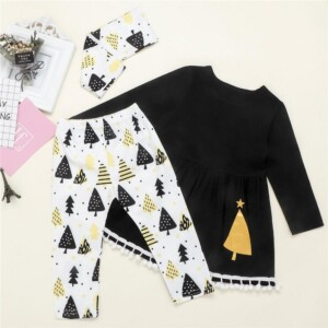3-piece Christmas Pattern Tops & Pants & Headband for Toddler Girl