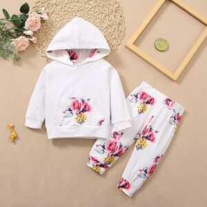 2-piece Floral Pattern Sweet Suit for Baby