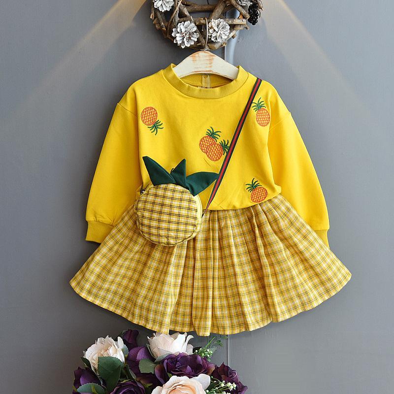 2-piece Pineapple Pattern Dress Set for Toddler Girl
