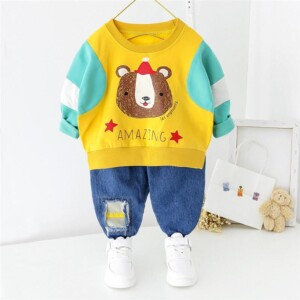 2-Piece bear Pattern Hoodie & Jens for Toddler Boy