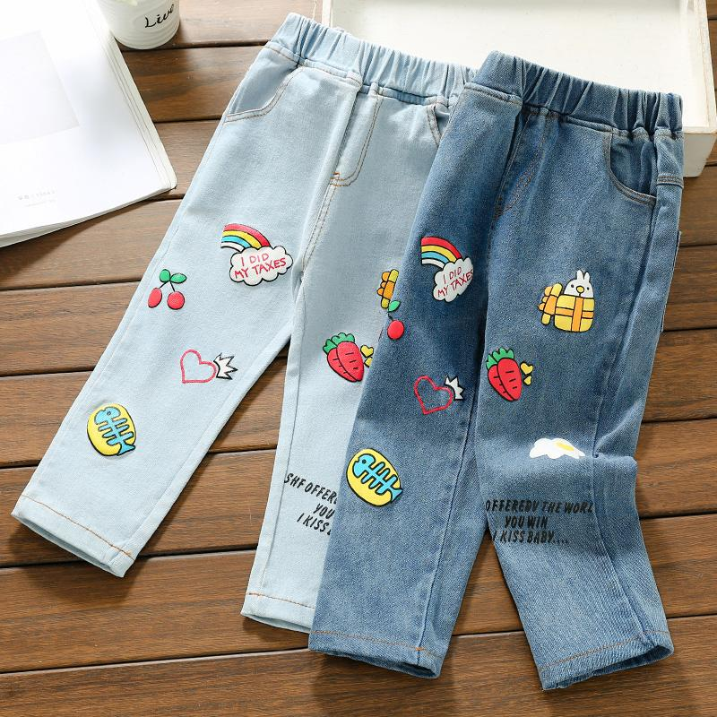Cartoon Pattern Jeans for Toddler Girl