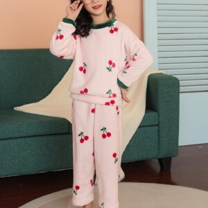 2-piece Fleece-lined Cherry Pattern Pajamas Sets for Girl