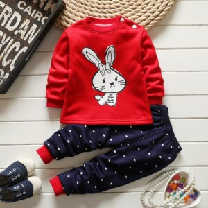 Thick Cute Bunny Pattern Fleeced Pajamas Set