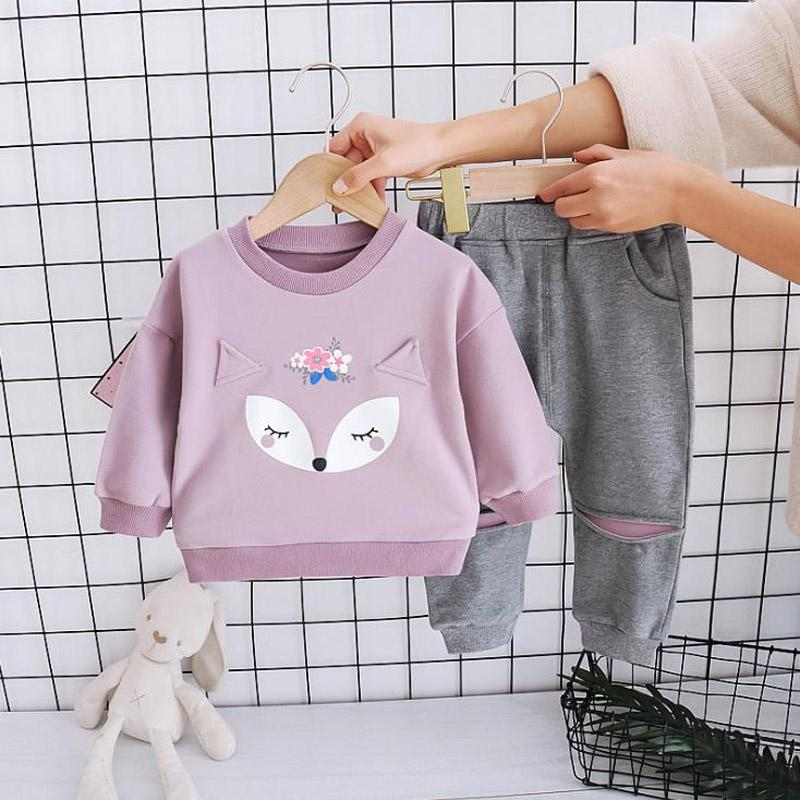 2-piece Fox Pattern Suit for Toddler Girl