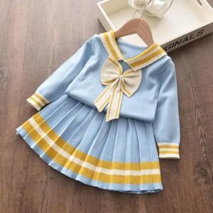 2-piece bowknot Pattern Dress Set for Toddler Girl