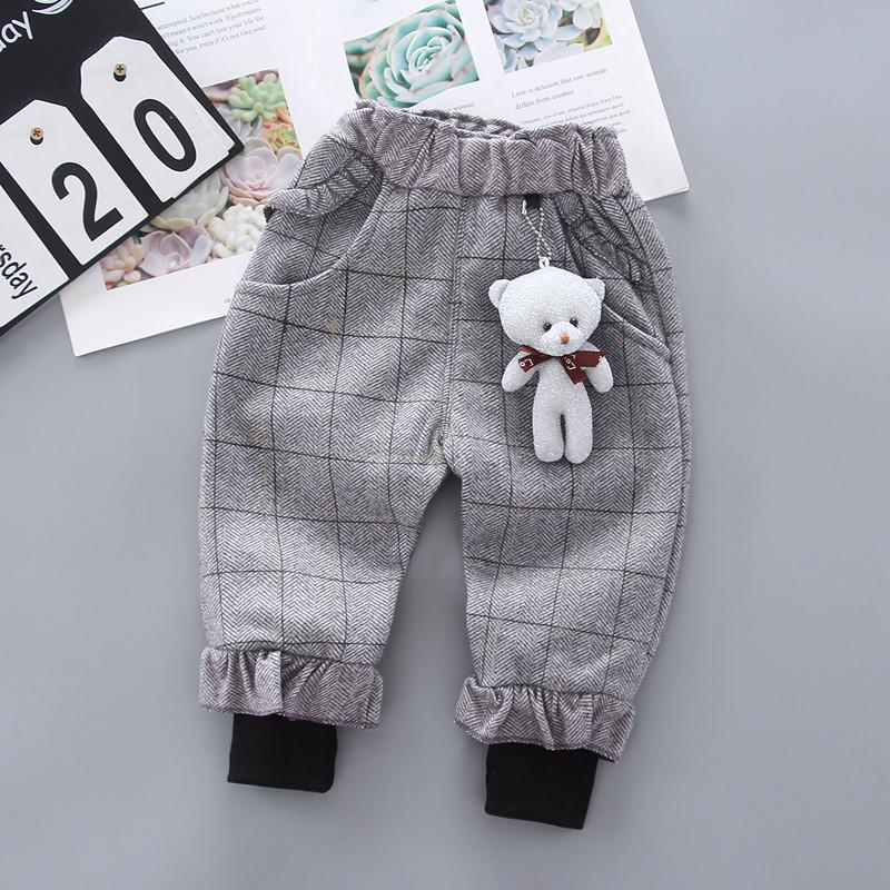 Bear Pattern Fleece-lined sports pants for Toddler Girl
