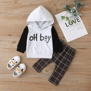 2-piece Letter Pattern & Plaid Pants for Baby Boy