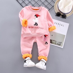 2-piece Figure Printed Sweatshirts & Pants for Toddler Girl
