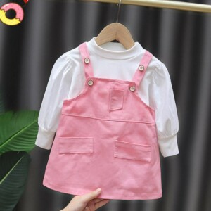 2-piece Solid Blouse & Overalls for Toddler Girl