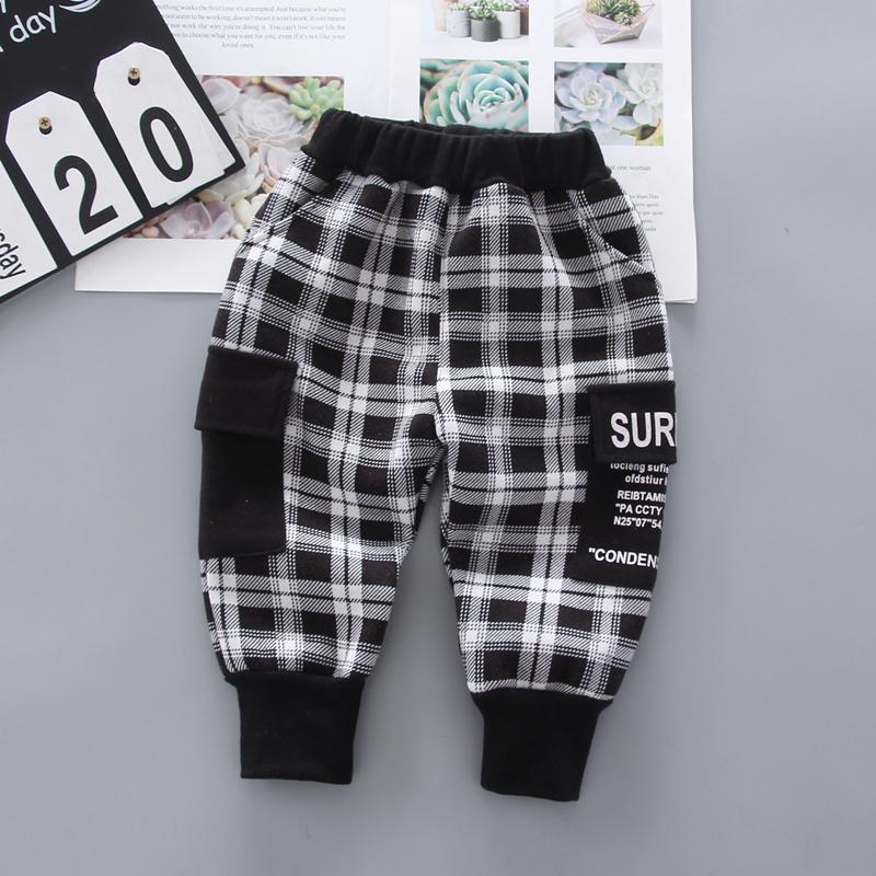 Plaid Pattern Fleece-lined sports pants for Toddler Boy