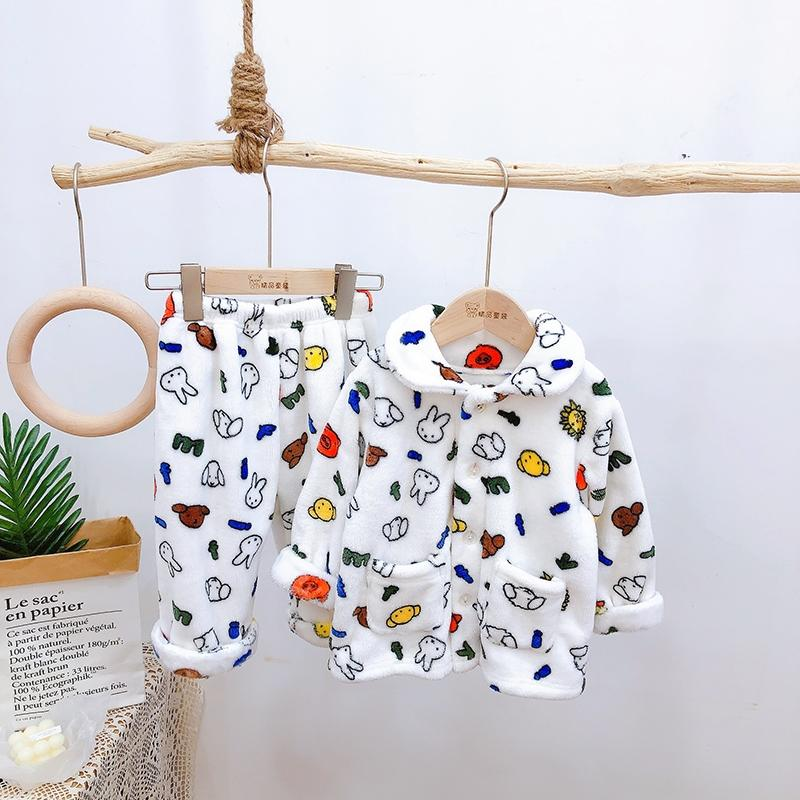 2-piece Animal Pattern Flannel Pajamas Sets for Toddler Boy