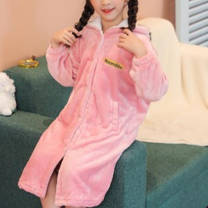 Solid Flannel Fleece-lined Hooded Pajamas Dress for Girl