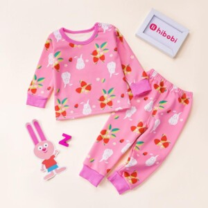 2-piece Floral Pattern Pajamas Sets for Toddler Girl