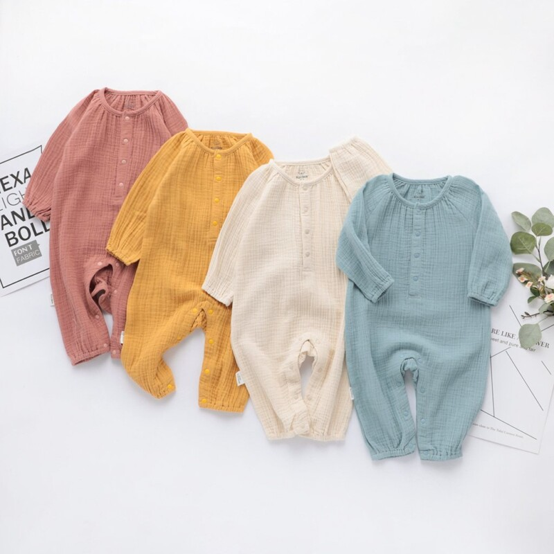 Long-Sleeve Solid Jumpsuit