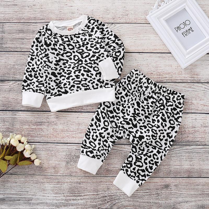 2-piece Leopard Sweatshirt & Pants for Baby Girl