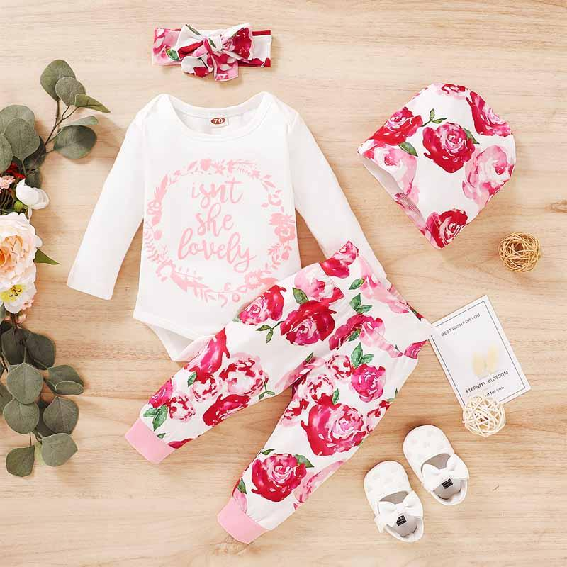 4-piece Letter Pattern Bodysuit & Floral Printed Pants & Headband & Hat for Baby Girl