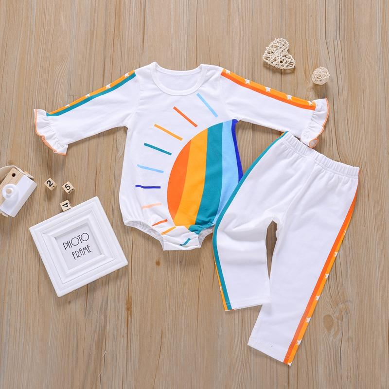 2-piece Rainbow Pattern Bodysuit & Pants for Baby Girl